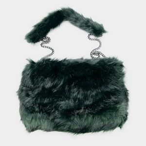 GREEN FAUX FUR CROSSBODY BAG